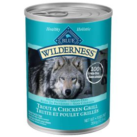 Wilderness All Breeds Adult Trout & Chicken Grill WET DOG  12.5 oz.