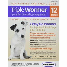 Durvet: Triple Wormer Pup/Sm Dog 12Ct Bx